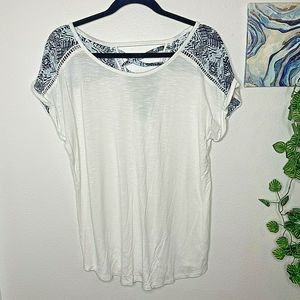 Maurices Lace Up Back Chiffon Detail Blouse Sz L